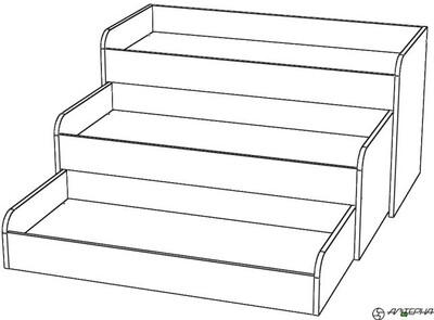 Кровать детская 3-х ярусная, раздвижная. КД-3.16