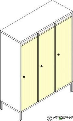 Шкаф для детской одежды на металлокаркасе ШДм-3